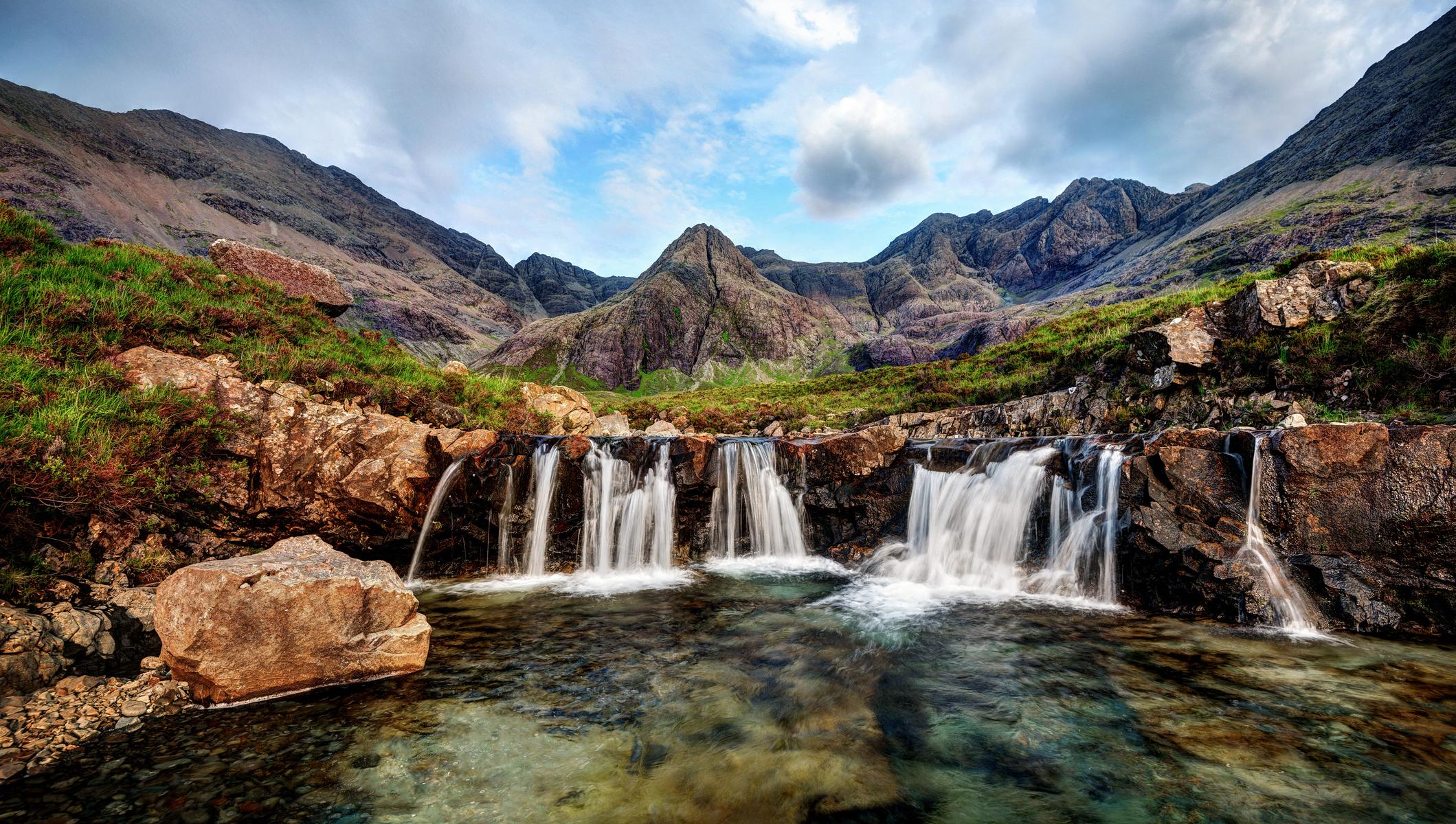 Wild swimming in the Fairy Pools, Skye